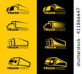 black and yellow truck... | Shutterstock .eps vector #411866647