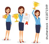 businesswoman concept winner... | Shutterstock .eps vector #411871549