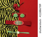 stylish tiger print. fashion... | Shutterstock . vector #411886789