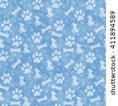 Blue Dog Paw Prints  Puppy ...