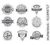 vector pizza logo set of... | Shutterstock .eps vector #411898717