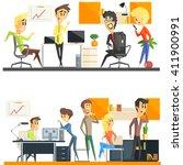 office team flat vector graphic ... | Shutterstock .eps vector #411900991