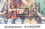 computer communication... | Shutterstock . vector #411902599