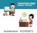 freelance working. flat cute... | Shutterstock .eps vector #411902671