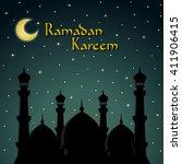 ramadan kareem greeting card.... | Shutterstock .eps vector #411906415