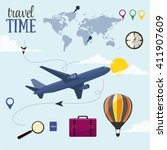 travel time vector design... | Shutterstock .eps vector #411907609