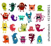 cartoon monsters set. colorful... | Shutterstock . vector #411908011