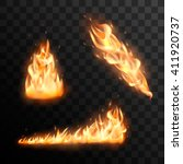 set of realistic burning fire... | Shutterstock .eps vector #411920737
