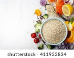 bowl of healthy white quinoa...   Shutterstock . vector #411922834
