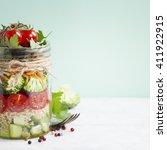 healthy homemade mason jar... | Shutterstock . vector #411922915