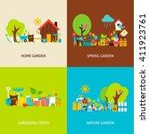 spring garden concepts set.... | Shutterstock .eps vector #411923761