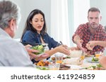 happy family having breakfast... | Shutterstock . vector #411924859