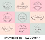 hand drawn logo collection.... | Shutterstock .eps vector #411930544