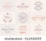 hand drawn wreath logo set and... | Shutterstock .eps vector #411930559