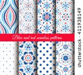 Blue Red Floral Patterns On...