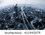 blue tone city scape and... | Shutterstock . vector #411942079
