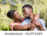 happy family posing together at ... | Shutterstock . vector #411971335