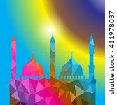 beautiful religious eid... | Shutterstock .eps vector #411978037