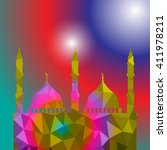 beautiful religious eid... | Shutterstock .eps vector #411978211