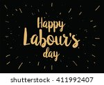 happy labour's day inscription. ... | Shutterstock .eps vector #411992407