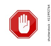 red stop hand sign | Shutterstock .eps vector #411992764
