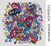 cartoon hand drawn doodles... | Shutterstock .eps vector #411993211