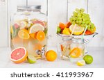 detox fruit infused flavored... | Shutterstock . vector #411993967