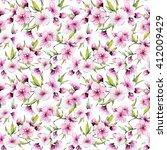 watercolor pattern spring ... | Shutterstock . vector #412009429