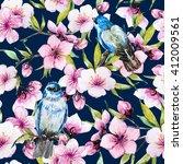 watercolor pattern spring ... | Shutterstock . vector #412009561