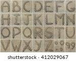 alphabet letters  written on... | Shutterstock . vector #412029067