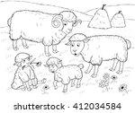 at the farm. farm animals....   Shutterstock . vector #412034584