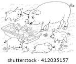 at the farm. farm animals. cute ...   Shutterstock . vector #412035157