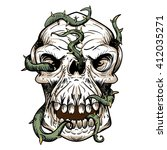horrible skull  riddled with... | Shutterstock .eps vector #412035271