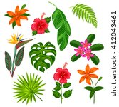 set of stylized tropical plants ... | Shutterstock .eps vector #412043461