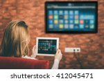 closeup of a tablet is... | Shutterstock . vector #412045471