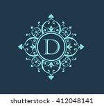 letter d  floral monogram.   Shutterstock .eps vector #412048141