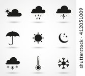 gray weather icon set isolated... | Shutterstock .eps vector #412051009
