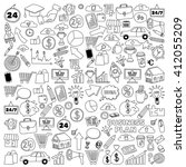 vector set of doodle business... | Shutterstock .eps vector #412055209