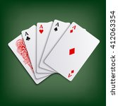 aces poker cards game template | Shutterstock .eps vector #412063354