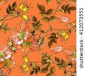 rosehip. flower pattern.... | Shutterstock . vector #412073551