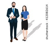 two business people stand with... | Shutterstock .eps vector #412082614