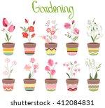 cute striped flower pots... | Shutterstock .eps vector #412084831