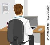 medical doctor using laptop in...   Shutterstock .eps vector #412086004