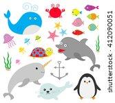 sea ocean animal fauna set.... | Shutterstock .eps vector #412090051