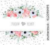 anemone  rose  pink flowers and ... | Shutterstock .eps vector #412090495