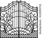 wrought iron gate | Shutterstock .eps vector #412090741