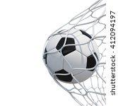 soccer ball in net on white... | Shutterstock . vector #412094197