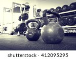 old gym interior with equipment | Shutterstock . vector #412095295