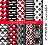 Geometric red black and white seamless patterns set. Unusual triangle striped backgrounds. Isometric design. Psychedelic ornaments. Vector graphic wallpaper or fabric print. Abstract tile images. | Shutterstock vector #412103335