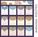 calendar vector ornament cards... | Shutterstock .eps vector #412117411